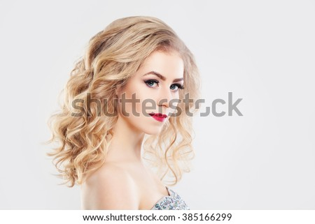 Glamorous Woman Fashion Mode with Curly Blonde Hair - stock photo