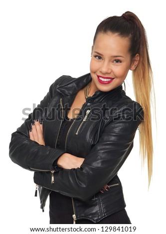 Glamorous woman in black leather jacket isolated on white background - stock photo