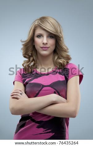 glamorous woman posing pink - stock photo