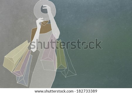 Glamorous woman with shopping bags hat gloves - stock photo