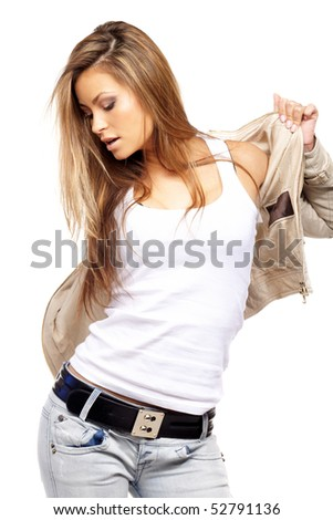 Glamorous young sexy woman on white - stock photo