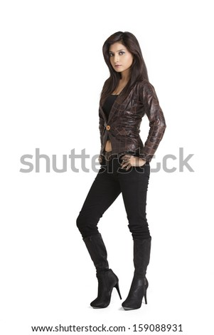 Glamorous young woman in brown leather jacket  - stock photo