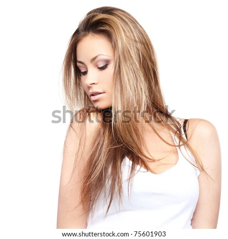 Glamorous young woman isolated on white background - stock photo