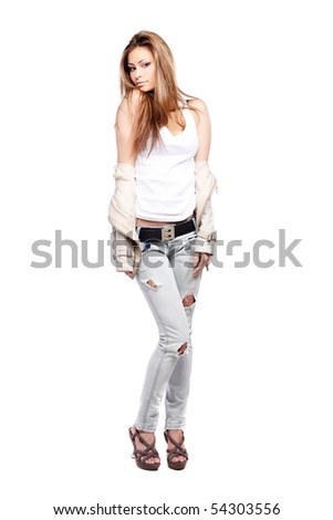 Glamorous young woman on white background