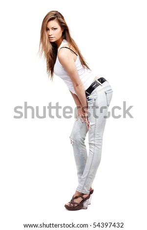 Glamorous young woman on white background - stock photo