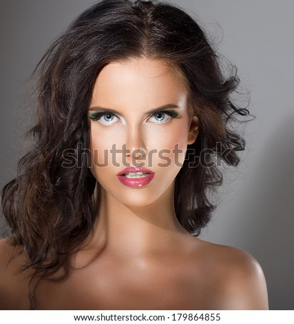 Glamorous Young Woman with Perfect Healthy Clean Skin. Natural Makeup - stock photo
