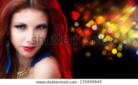 Glamour Beautiful Girl with Beauty Red Hair on the Night Party