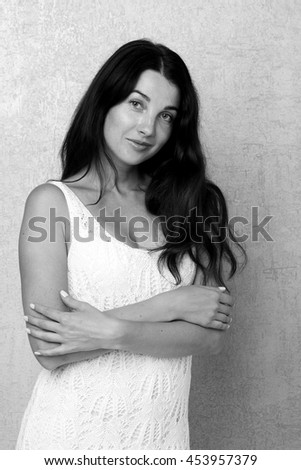 Glamour Beautiful Woman with Healthy and Beauty Hair/Young sensual model girl pose in studio - stock photo