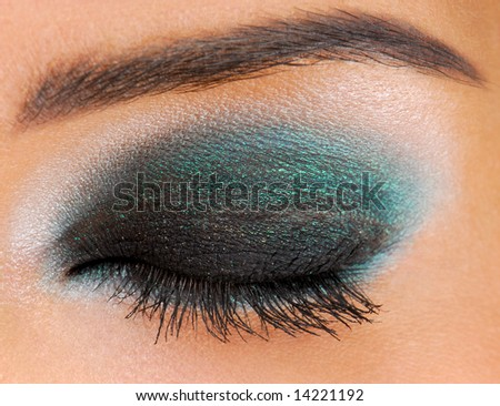 Glamour ceremonial make-up. Human Eyes closed. - stock photo