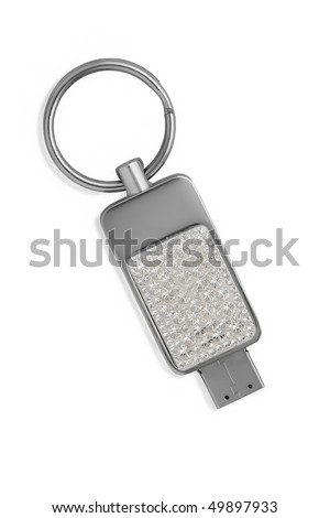 Glamour charm - Usb flash memory, close-up. Isolated on white background - stock photo