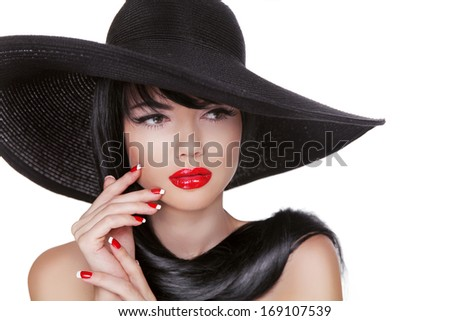 Glamour Fashion Brunette Woman Portrait in black hat isolated on White background. Makeup. Manicured nails. - stock photo