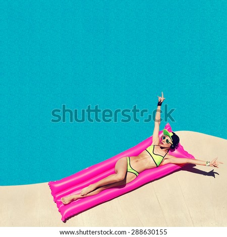 Glamour Girl DJ style hot party in the Swimming pool - stock photo