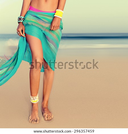 Glamour Girl in fashionable Summer Accessories on the beach - stock photo