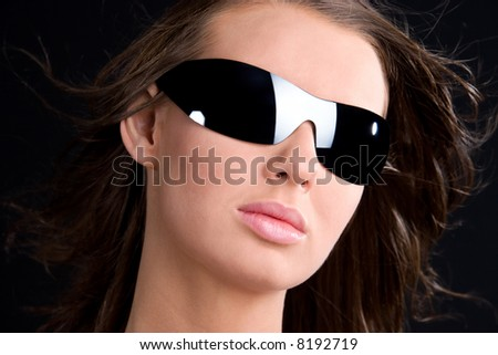 Glamour girl in sunglasses portrait. - stock photo