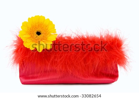 Glamour Girl - red silk evening bag with flower.