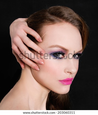 glamour girl with bright make-up - stock photo