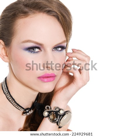 glamour girl with bright make-up and bracelet ,Jewelry  - stock photo