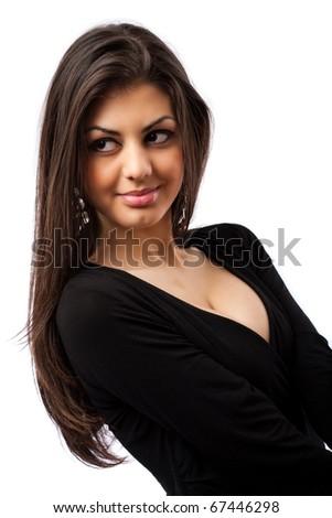 Glamour image of a beautiful hispanic woman, isolated on white background - stock photo