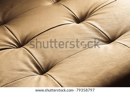 Glamour leather vintage sofa detail - Leather couch macro shoot - stock photo