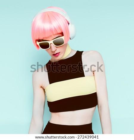 Glamour model DJ Vanilla style - stock photo