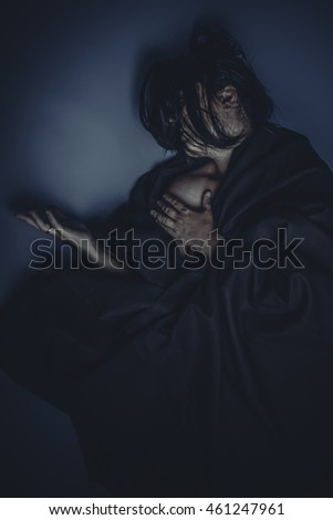 Glamour nude brunette woman with black cloth