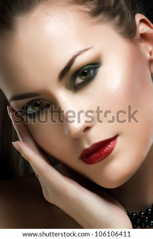 glamour portrait of a beautiful woman - stock photo
