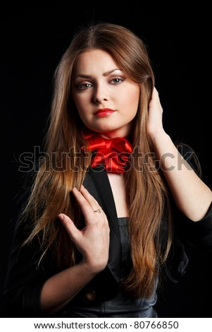 Glamour portrait of attractive brunette with fashion make-up