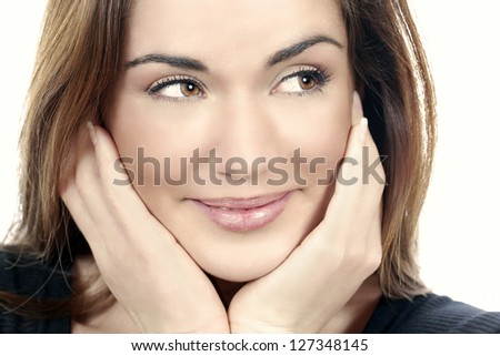 Glamour portrait of beautiful woman model - stock photo
