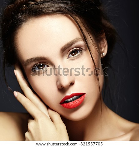 glamour portrait of beautiful  woman model lady with fresh daily makeup with red lips and clean face and romantic wavy hairstyle.