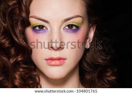Glamour portrait of beautiful woman model with evening makeup and hairstyle. - stock photo