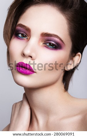 Glamour portrait of beautiful woman model with fresh daily makeup - stock photo