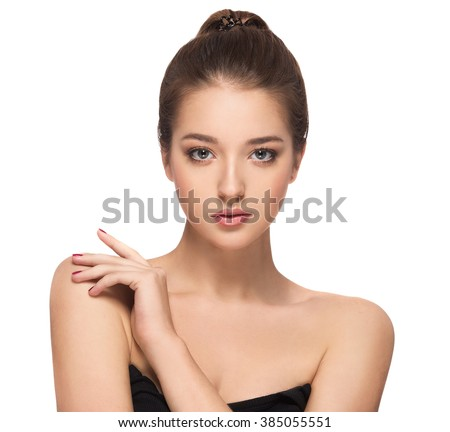 Glamour portrait of beautiful woman model with fresh daily makeup Healthy skin concept isolated on white - stock photo