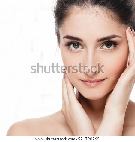 Glamour portrait of beautiful woman model with fresh daily makeup Healthy skin concept isolated on white