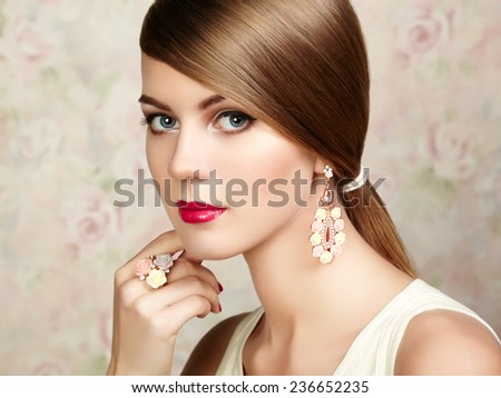 Profile Portrait Beautiful Fashion Woman Black Stock Photo ...