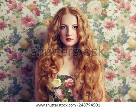 Glamour portrait of beautiful woman model with fresh makeup and romantic  hairstyle. Beauty girl with professional makeup. - stock photo