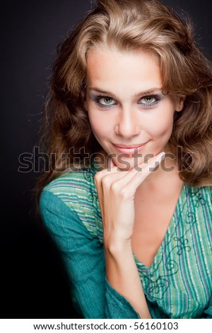 Glamour portrait of elegant stylish young woman - stock photo