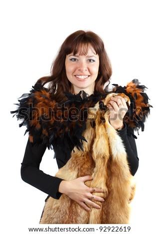 glamour portrait of  girl in feathers clothes  girl with fox fur - stock photo