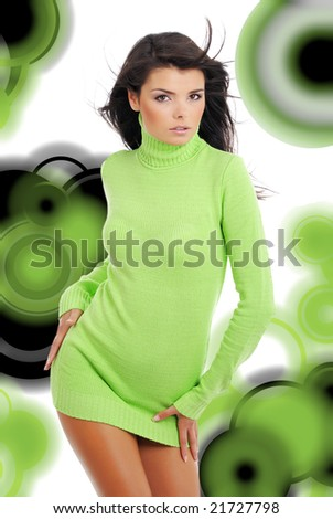Glamour Portrait of sexy woman over modern abstract background - stock photo