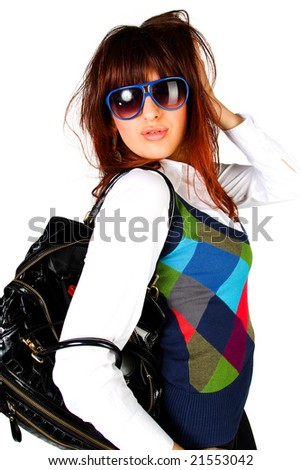 Glamour portrait of woman on white backround