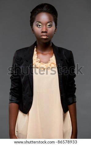 glamour portrait young black girl - stock photo