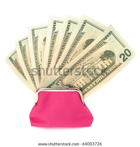 Glamour purse fill with money isolated on white background