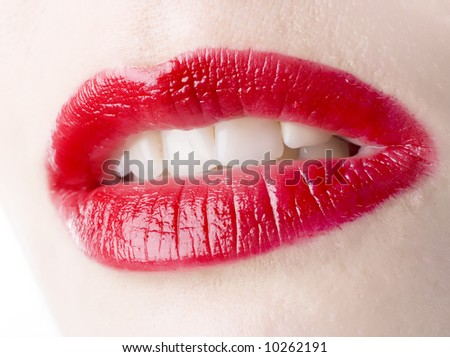 Glamour Red gloss lips