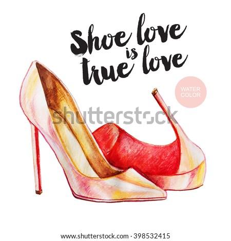 Glamour shoes illustration. Women fashion. - stock photo