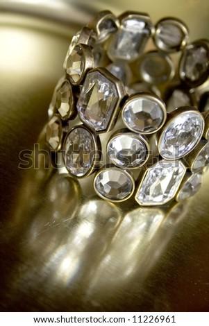 glamour shot of diamond bracelet - stock photo