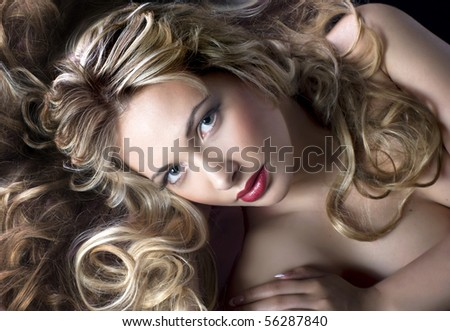 glamour style portrait of pretty woman - stock photo