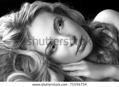 glamour style portrait of pretty woman in Black & White - stock photo