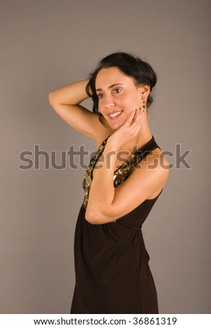 glamour woman dressed in elegance clothes - stock photo