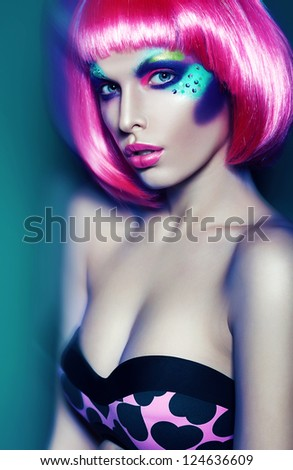 glamour woman in pink wig and bra - stock photo