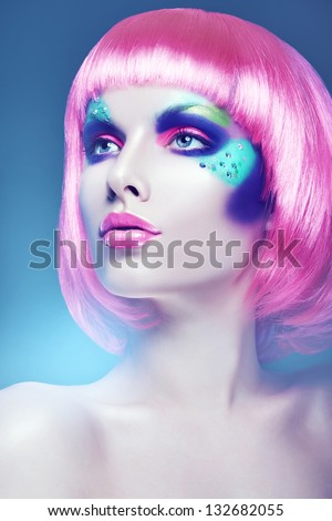 glamour woman with pink wig - stock photo
