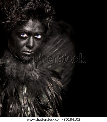 Glare look of harpy - mystical creature, isolated on black